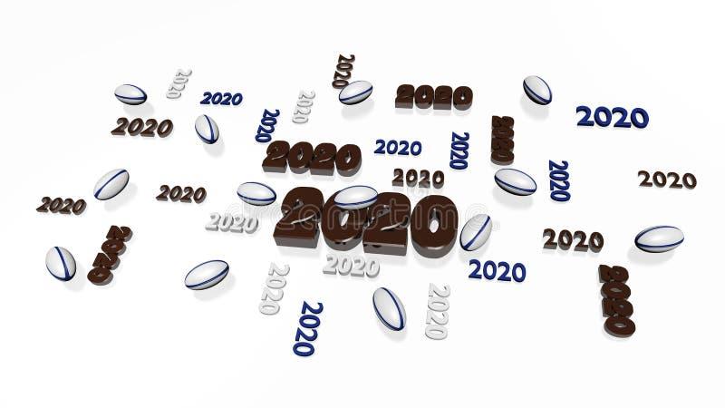 Varios diseños de la bola de rugbi 2020 con algunas bolas stock de ilustración