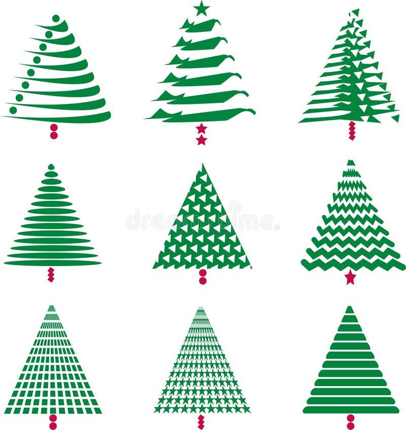 Varios diseños del árbol de navidad stock de ilustración