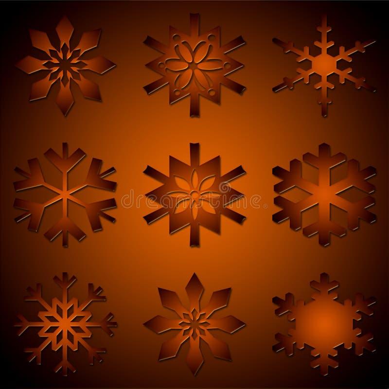 Varios diversos copos de nieve libre illustration