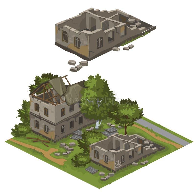 Varios edificios y árboles destruidos, ciudad del vector stock de ilustración