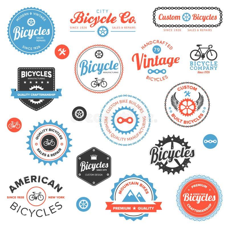 Varios escrituras de la etiqueta y emblemas de la bicicleta ilustración del vector