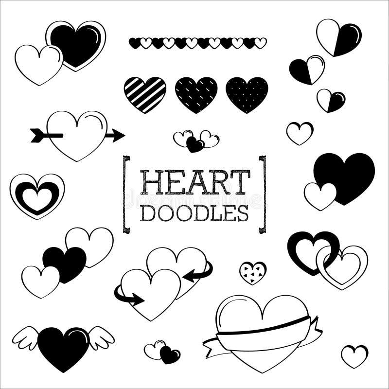 Varios garabatos del corazón ilustración del vector