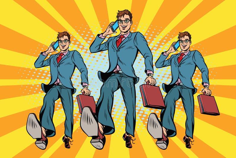 Varios hombres de negocios con marchar del teléfono ilustración del vector