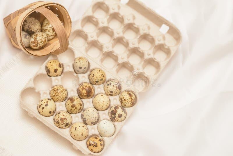 Varios huevos de codornices en paquete del cartón y en la cesta de mimbre, servilleta rústica Endecha plana, visión superior Conc fotografía de archivo