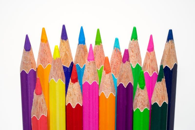 Varios lápices del color en un primer blanco del fondo fotografía de archivo
