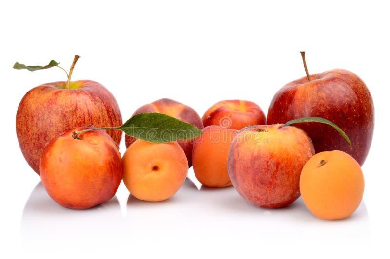 Varios melocotones, albaricoques, nectarinas y manzanas aislados en blanco imagenes de archivo