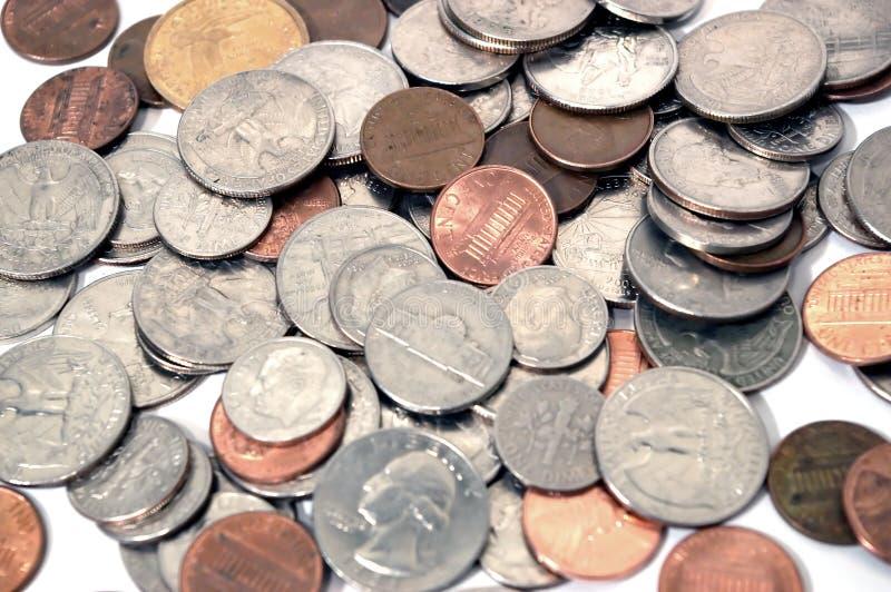 Varios monedas y cambio foto de archivo