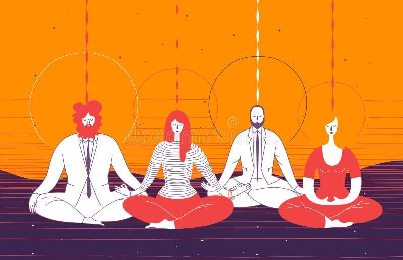 Varios oficinistas en ropa elegante se sientan en la posición de la yoga y meditan Concepto de meditación del negocio, mindfulnes libre illustration