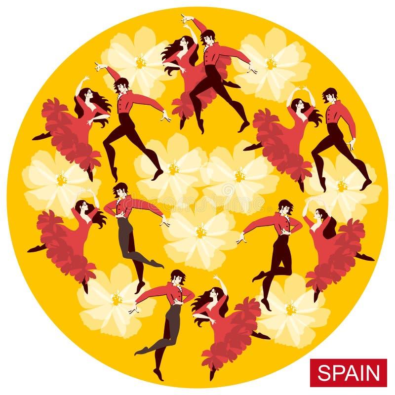 Varios pares españoles en los trajes nacionales que bailan flamenco en un fondo amarillo redondo en el vector libre illustration