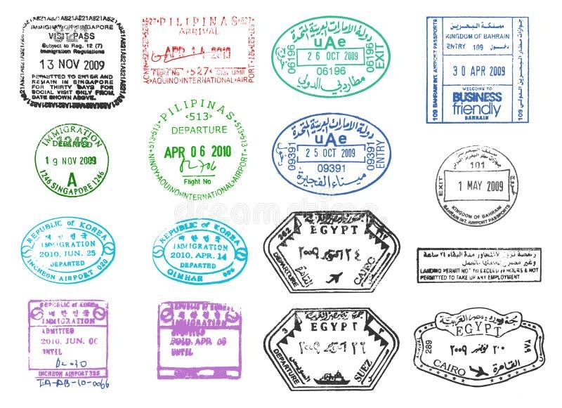 Varios sellos del pasaporte ilustración del vector