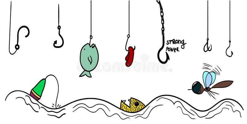Varios tipos de ganchos para pescar ca?da sobre una superficie ondulada libre illustration