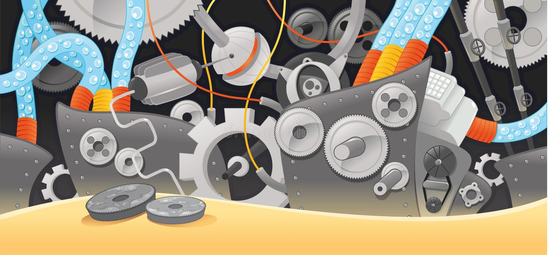 Varios tipos de mecanismos. ilustración del vector