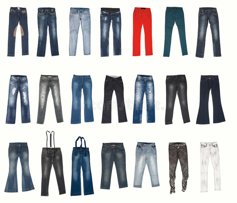 Varios tipos de pantalones de los pantalones vaqueros imagenes de archivo