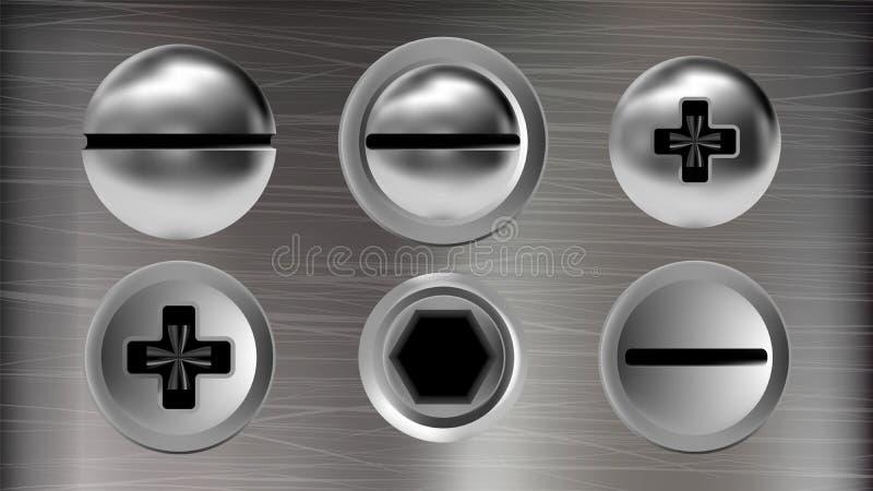 Varios tornillos de metal y jefes del vector del sistema de los pernos stock de ilustración