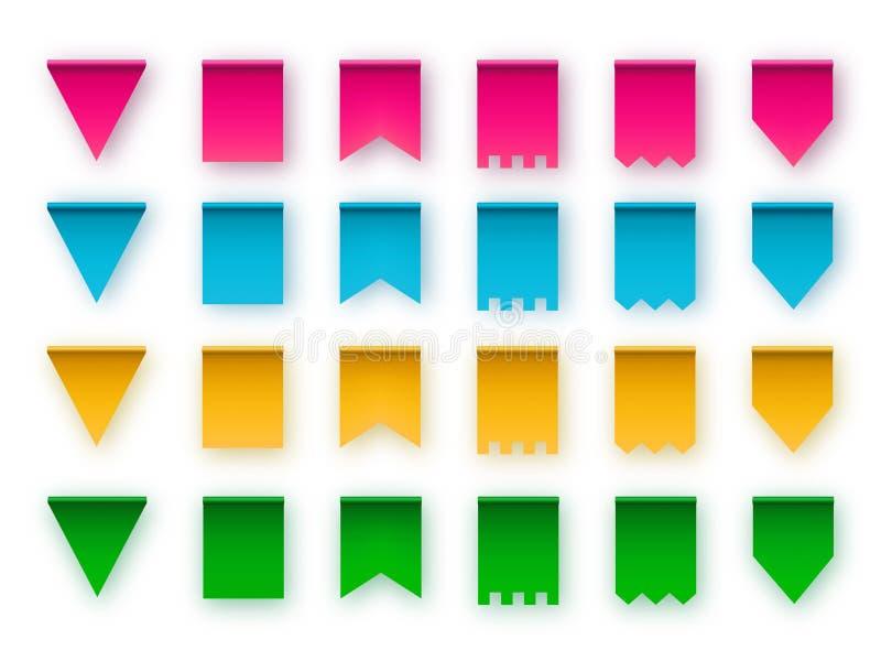 Varios typer av flaggan för bunting girlander bakgrundsdesignelement fyra vita snowflakes royaltyfri illustrationer