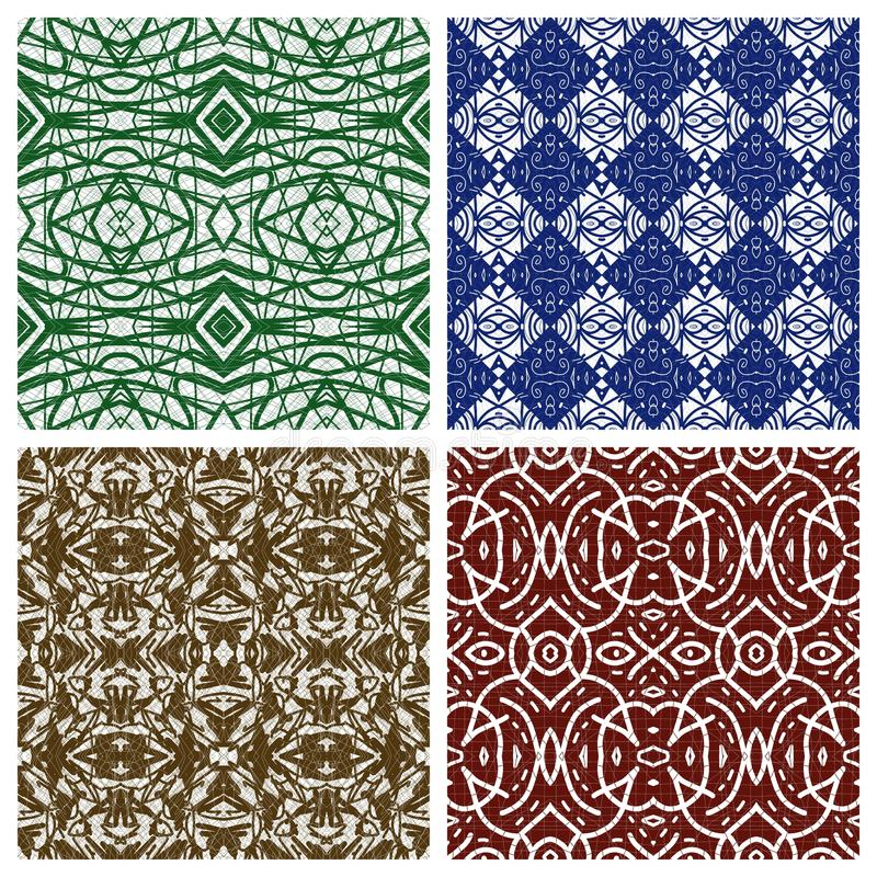 Various abstract patterns. Four matrices of backgrounds with abstract patterns of ethnic and classic inspiration vector illustration