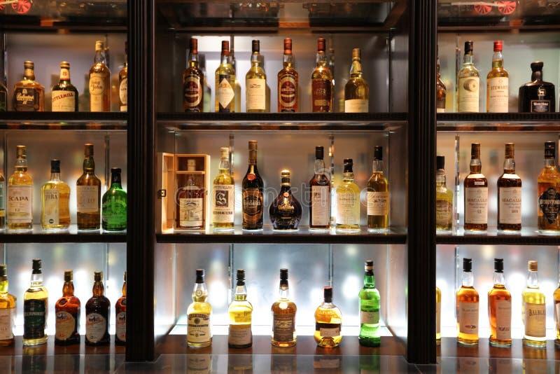 Various alcohol bottles in displayYoichi, Hokkaido royalty free stock image