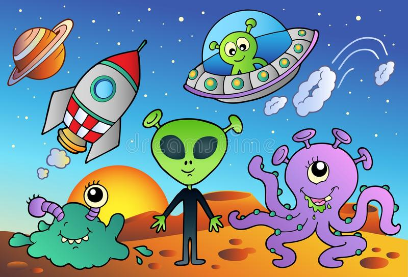 Various alien and space cartoons. Illustration royalty free illustration