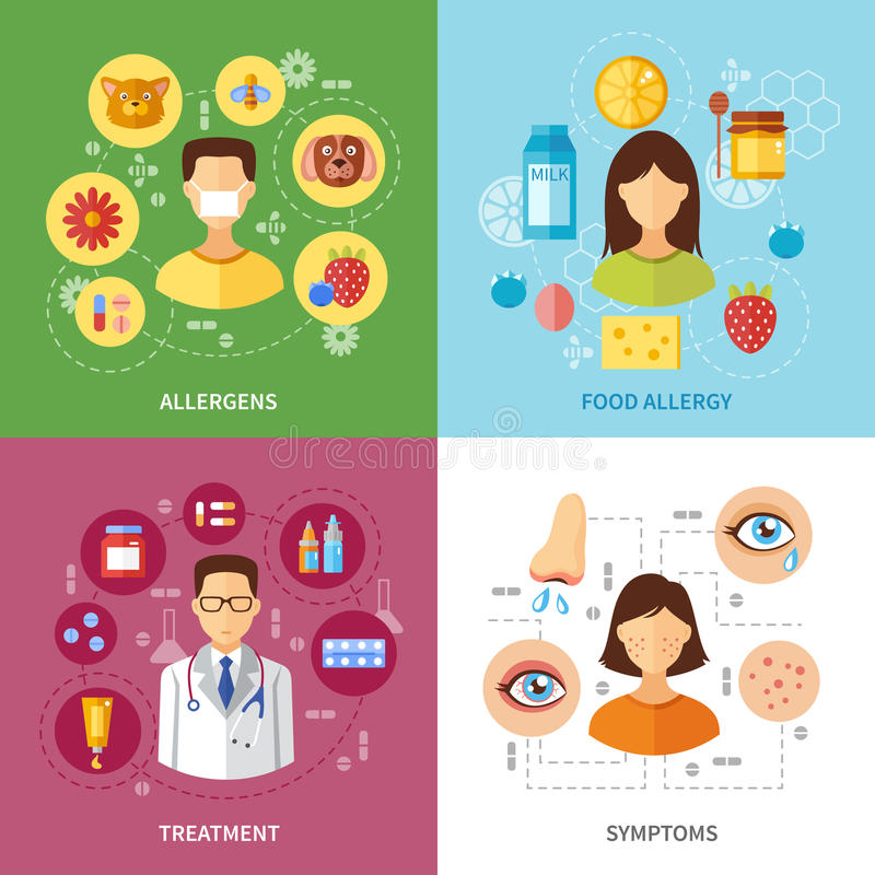 Various Allergy Types Symptoms. And treatment flat style concept vector illustration vector illustration