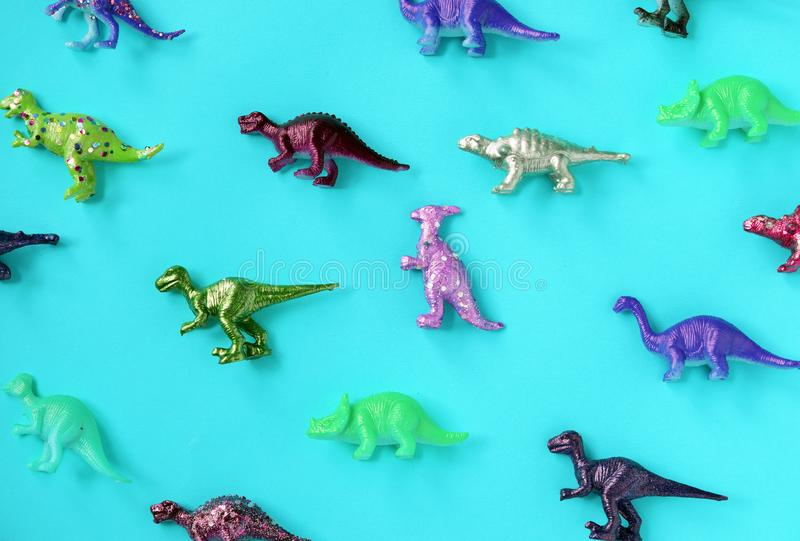 Various animal toy figures in a colorful background royalty free stock photo