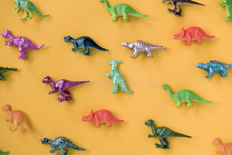 Various animal toy figures in a colorful background royalty free stock photos