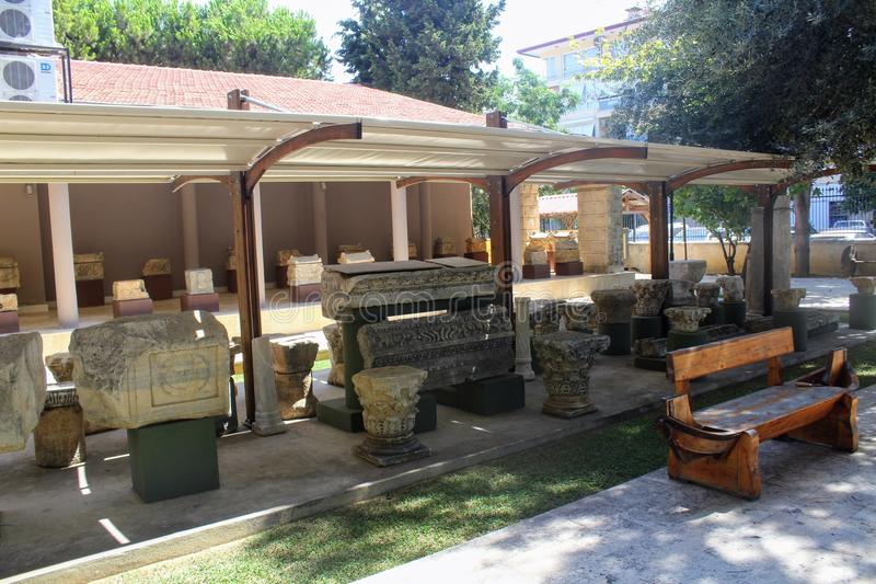 Various antique exhibits in the courtyard of the Alanya Archaeological Museum Turkey stock photo
