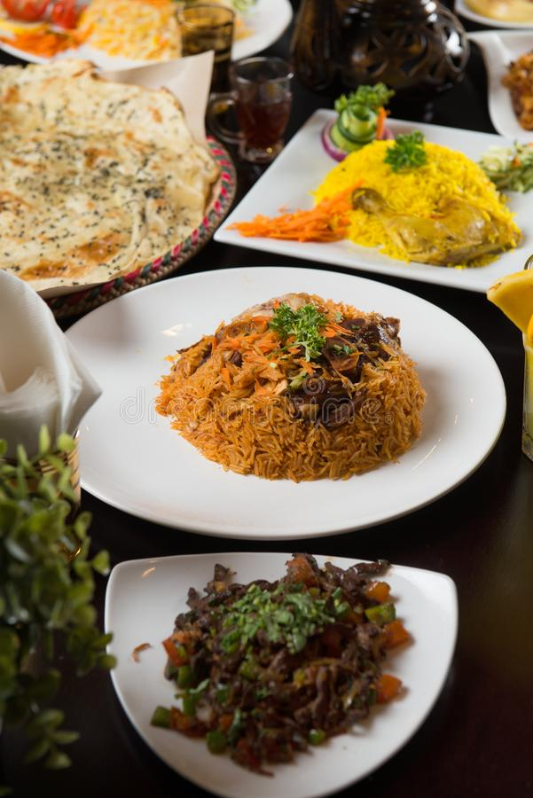 Various arab foods stock photo