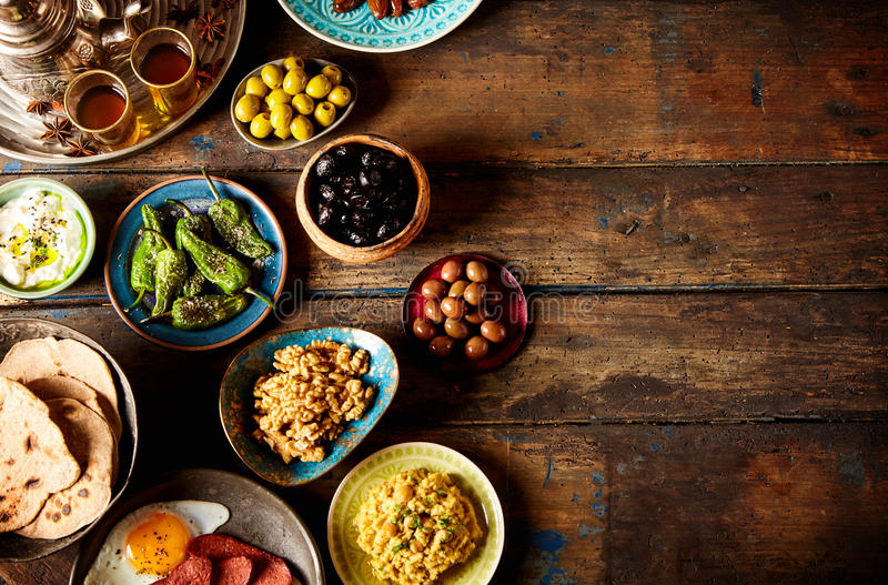 Various Arabic breakfast. On rustic background plate royalty free stock photo