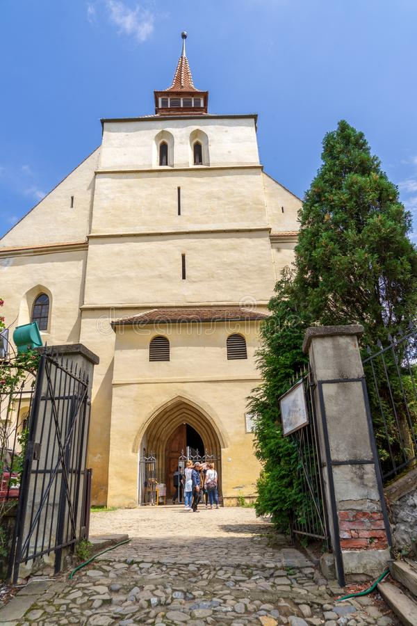 Gothic style church at Sighisoara stock photo