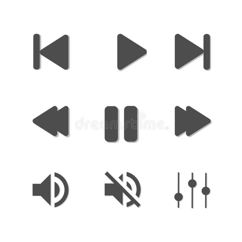 Various audio icons on a white background stock illustration