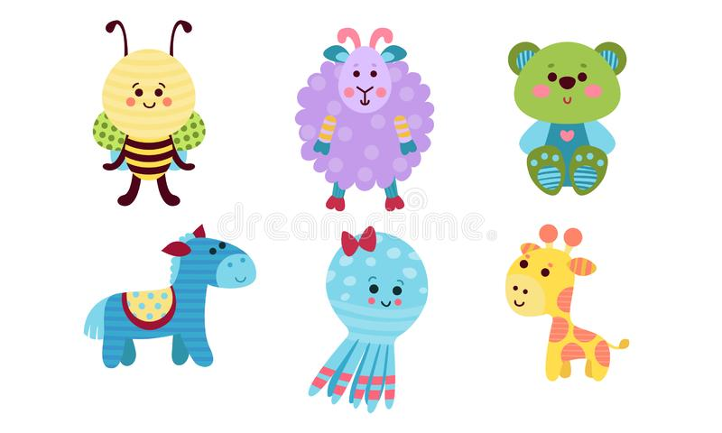 Various Babies Animals Cartoon Characters Colorful Vector Illustration Set royalty free illustration