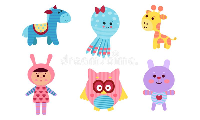 Adorable Babies Animals And Human Cartoon Characters Colorful Vector Illustration Set royalty free illustration