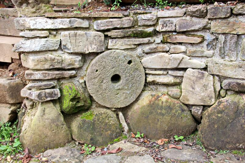 Various background types of laying stones from granite and other materials used in the construction. Of old buildings and structures stock photography