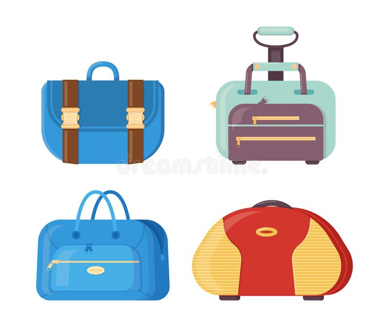 Various bags with handles, straps and clasps for traveling. vector illustration