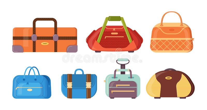 Various bags with handles, straps and clasps for traveling. stock illustration