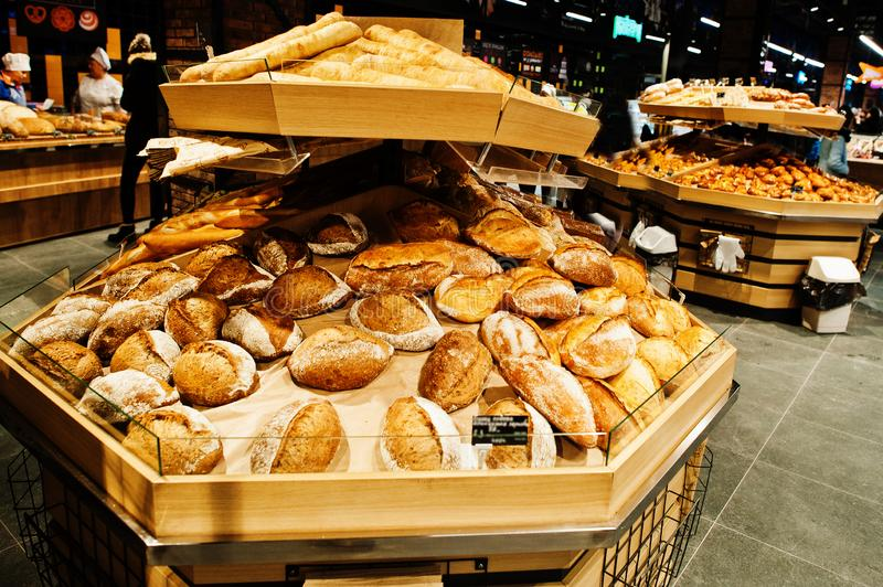 Various baking on supermarket shelves for sale royalty free stock images