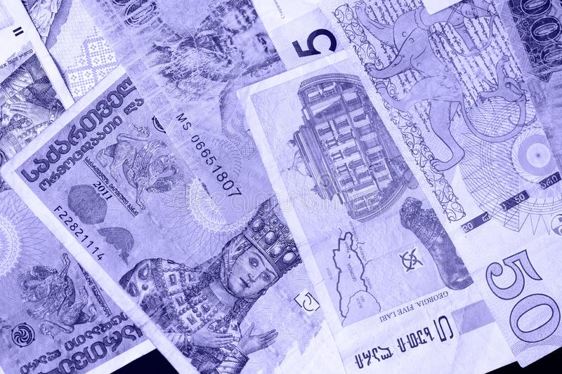 Various banknotes from different countries Belarusian rubles, Georgian lari, Polish zloty, Israeli shekels, Vietnamese royalty free stock images