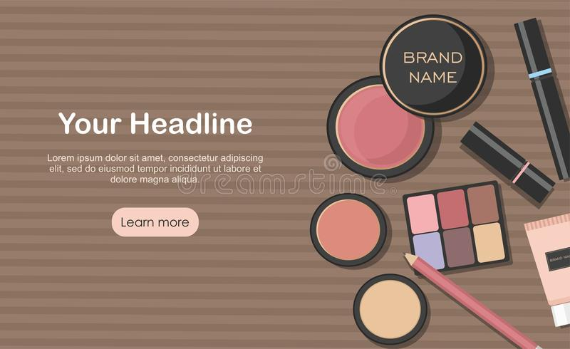 Various beauty products isolated on kraft paper background. Makeup cosmetics setd stock illustration