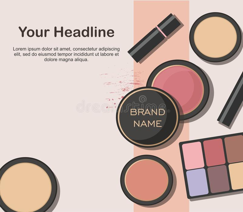 Various beauty products isolated on white background. Makeup cosmetics set royalty free illustration