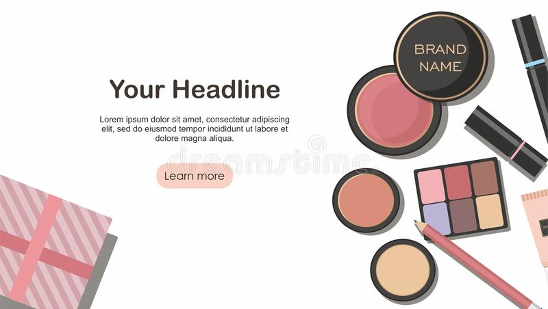Various beauty products isolated on white background. Makeup cosmetics set stock illustration