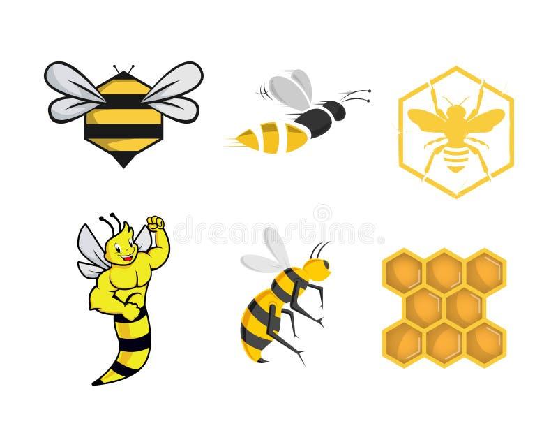 Various Bee logo image and character logo vector illustration
