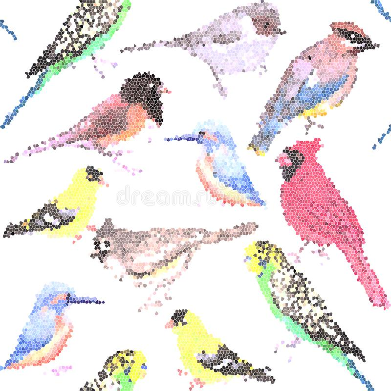 Various birds stained glass art seamless background- budgie cardinal goldfinch titmouse kingfisher cedar waxwing juncos.  royalty free illustration