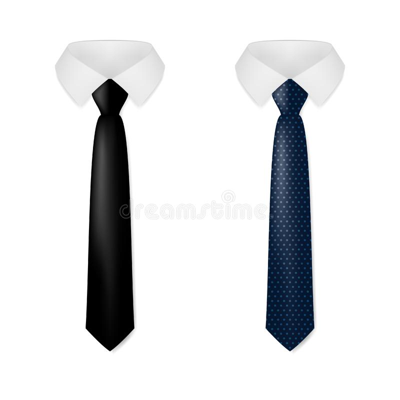 Various Black Business Neck Tie vector illustration