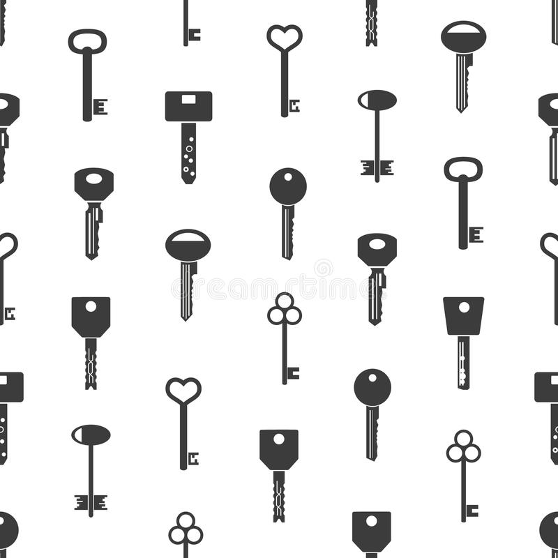 Various black keys symbols for open a lock seamless pattern eps10. Various black keys symbols for open a lock seamless pattern royalty free illustration