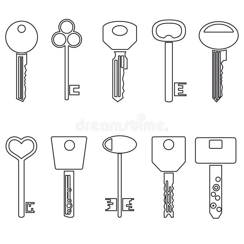 Various black outline keys symbols for open a lock. Eps10 stock illustration