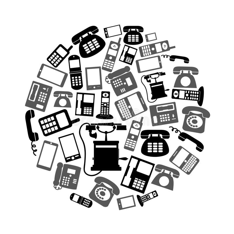 Various black phone symbols and icons set in circle eps10. Various black phone symbols and icons set in circle vector illustration