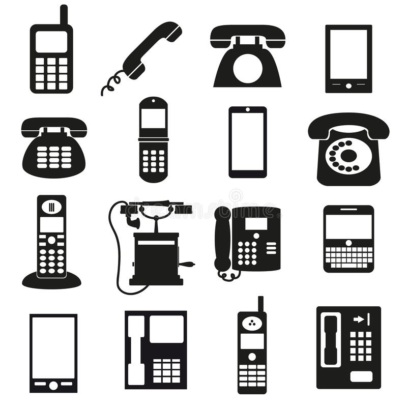 Various black phone symbols and icons set. Eps10 stock illustration