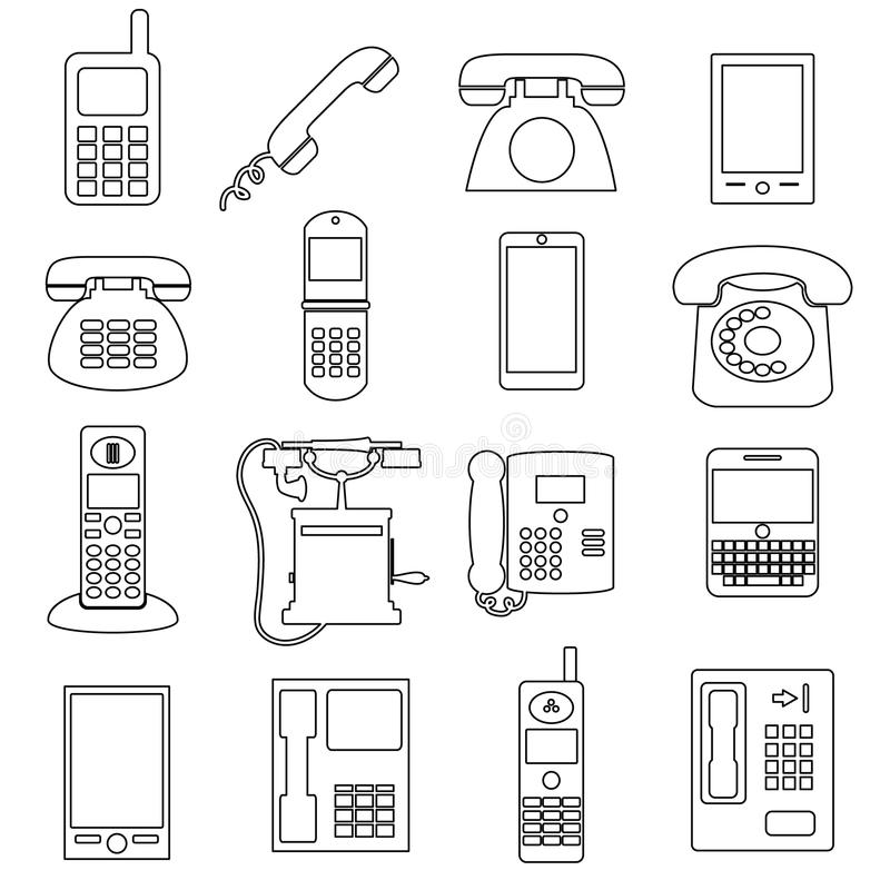 Various black phone symbols and outline icons set eps10. Various black phone symbols and outline icons set stock illustration