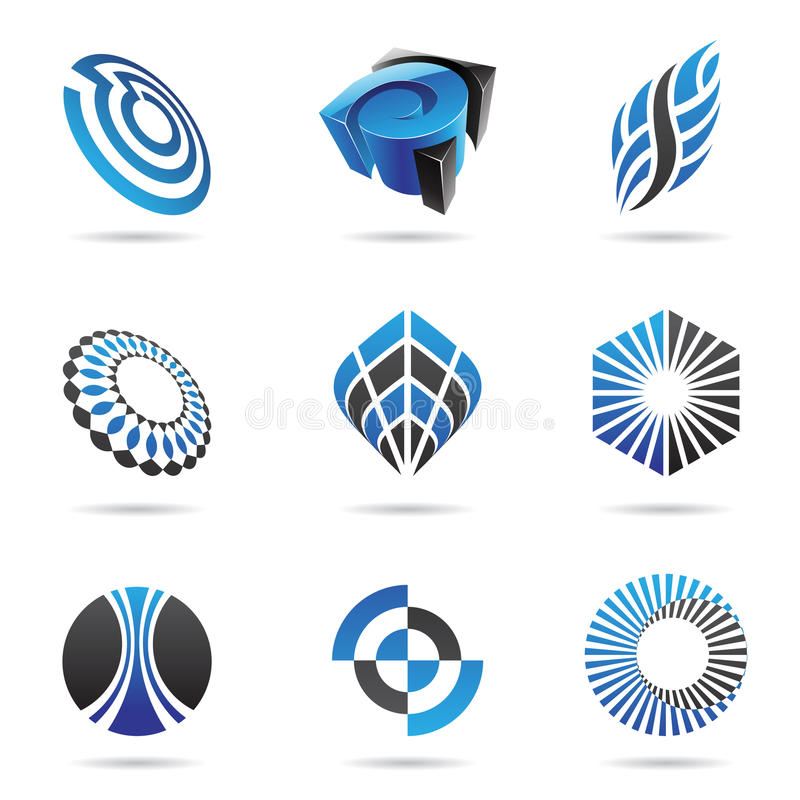Download Various Blue Abstract Icons, Set 3 Stock Image - Image: 15391671