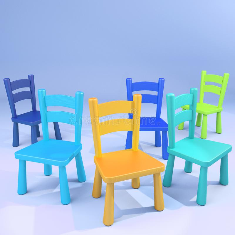 Colorful wooden empty school chairs. Various blue, green and orange colors wooden chairs scattered royalty free illustration